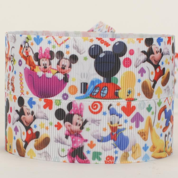 NEW 50 yards cartoon mickey and minnie mouse ribbon printed grosgrain ribbon free shipping