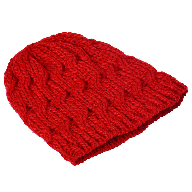 aee6419bcb5 Autumn Women s Hat Knit Crochet Ski Hat Winter Warm Braided Baggy Beret  Beanie Cap Red Black Rayon Pompom Solid Men s Hats