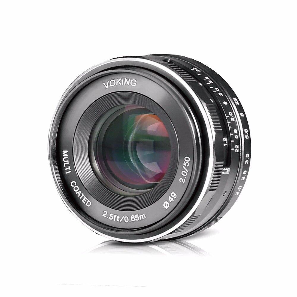 Voking VK-50mm F2.0 Large Aperture Manual Focus Lens for Canon-EF-M EOS M1/M2/M3