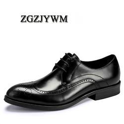 ZGZJYWM/Новая дышащая Классическая деловая обувь на шнуровке с острым носком черного/Красного/кофейного цвета под платье из натуральной кожи