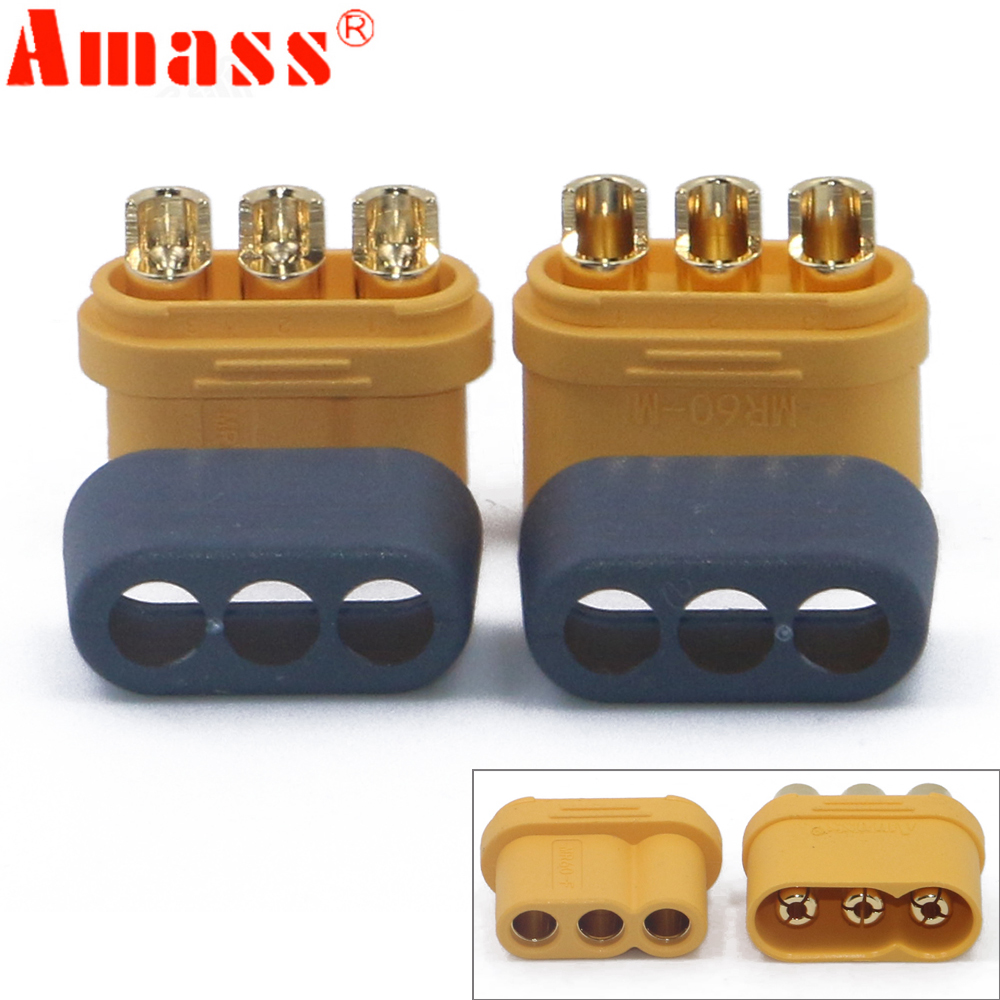 10 X Amass MR60 Plug W/Protector Cover 3.5mm 3 Core Connector T Plug Interface Connector Sheathed For RC Model (5 Pair )