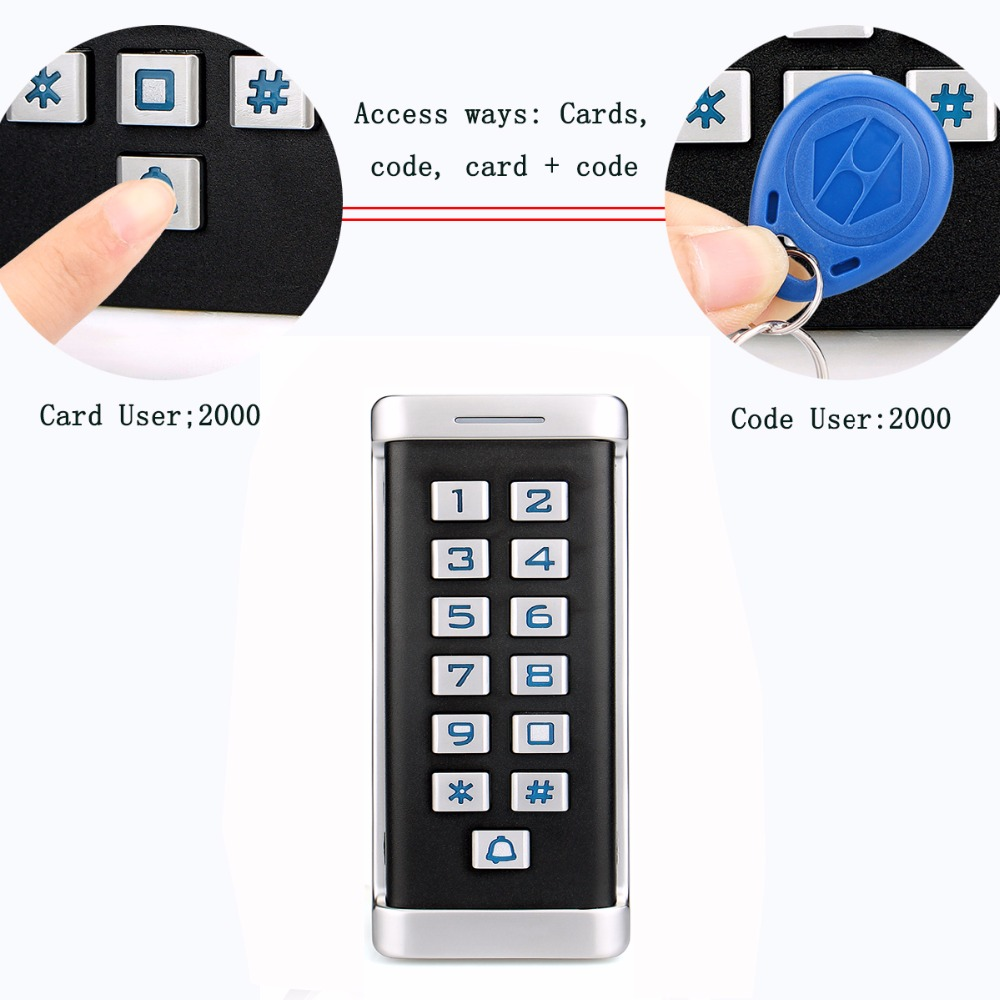 Metal Case RFID ID Keypad Single Door Stand-alone Access Control&Wiegand 26 bit I/O 2000 User's Cards/Cords Waterproof F1419