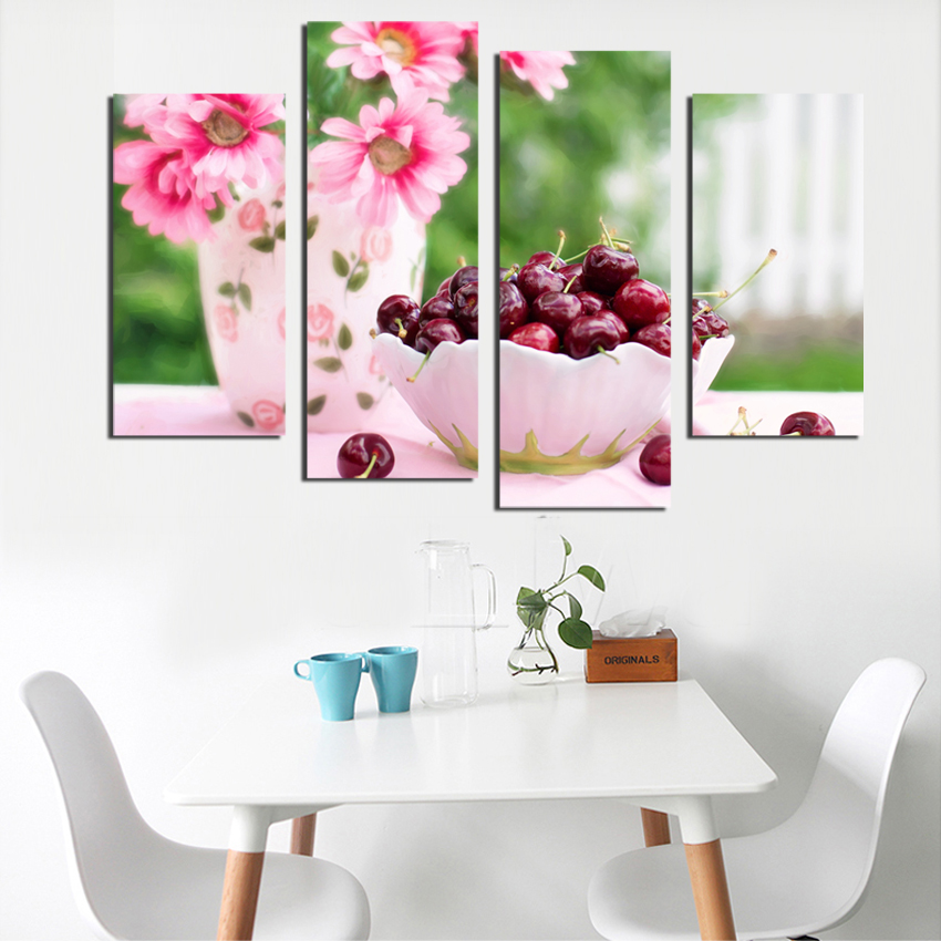 4 Panels Sunflower And Cherry Painting Modern Painting On Canvas Wall Art Picture Hot Sale Home Decoration Unframed Interior