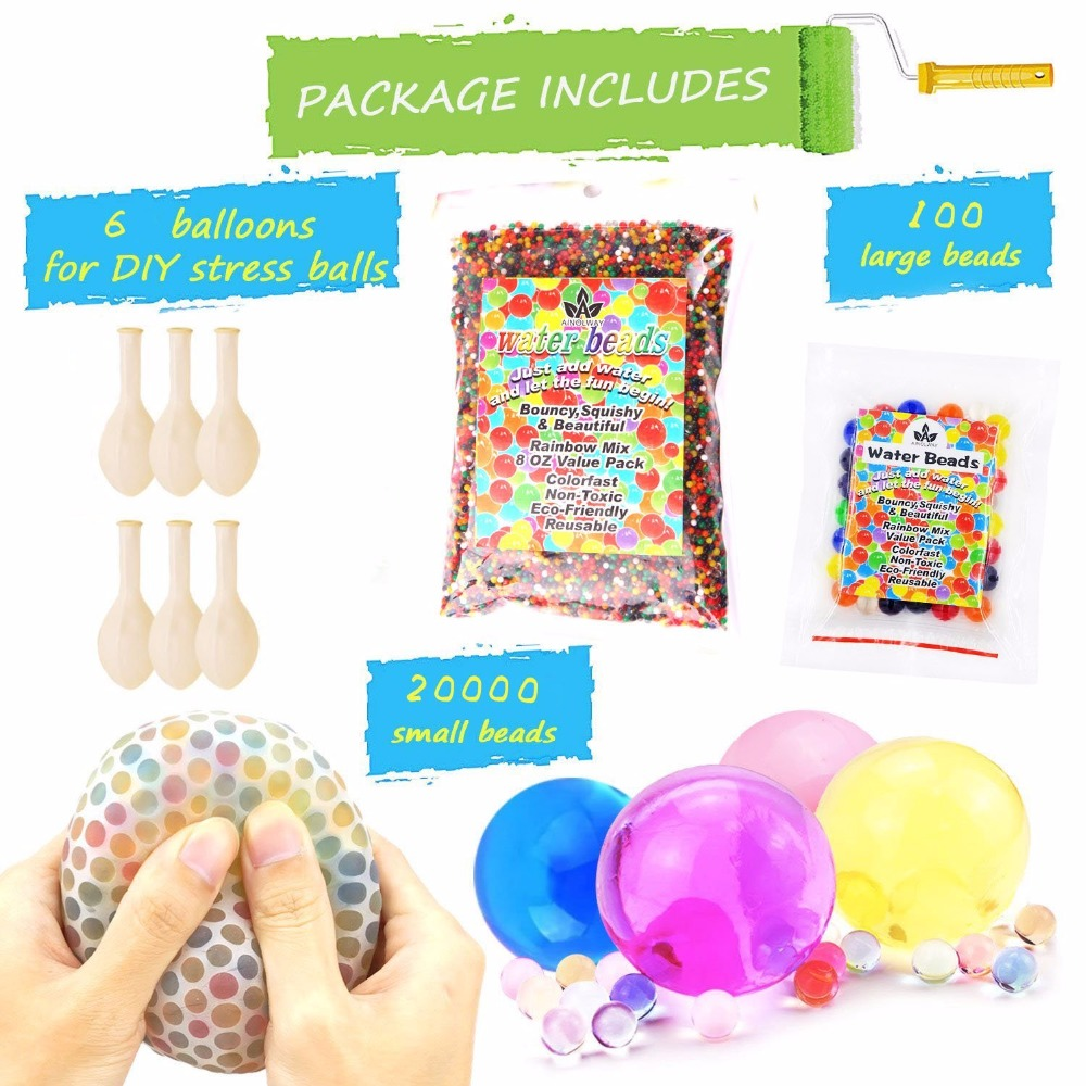 Sensory Water Beads Pack +Stress Ball FOR KIDS [20,000 Small+100 Large+6 Balloons] Squis ...