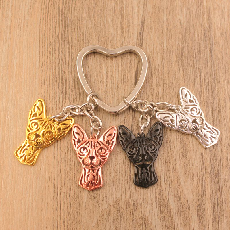 2018 Sphynx Cat Animal Gold Silver Plated Keychain Gift For Bag Car Women Men Male Female Girls Boys Love Jewelry Christmas