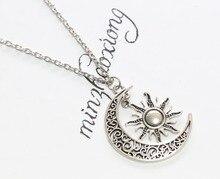 Vintage Silver Crescent Moon Sun Charm Pendant ,Crescent Moon And Sun Necklace 10pcs