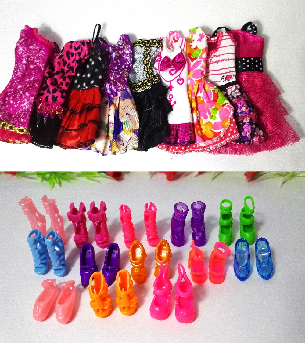 12 Pcs = Handmade Party 5  sets Clothes Fashion Mixed style Dress + 7 Pair Accessories Shoes for Barbie Doll Best Gift Girl Toys ноутбук acer extensa ex2540 33gh nx efher 007 nx efher 007