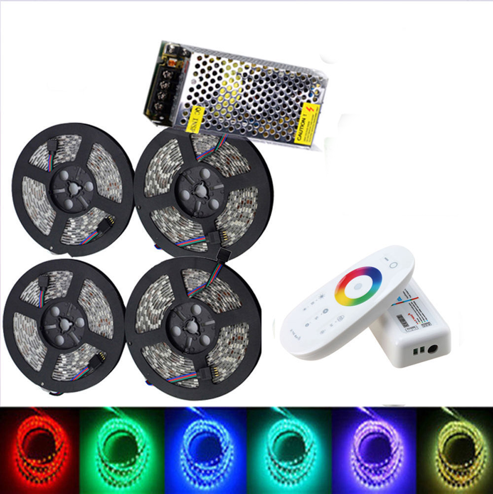 LED Strip set DC12V RGB RGBW 5050 Waterproof Flexible LED Tape xmas string Kit RF Remote Controller Power adapter 20M 15M 10M 5M dc 12v rgb rgbw led strip 5050 ip65 waterproof flexible led light 2 4g rf remote controller power adapter kit 20m 15m 10m 5m