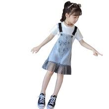 цены Kids Girl 100% Organic Cotton Denim Overall + Tshirt Clothes Set Summer 2020 Children Fashion Teenager Girls Clothing Sets 4-13T