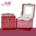 Guanya Hot sell high quality Leopard leather Three layers portable multi-functional necklace rings etc jewelry boxes gifts Box