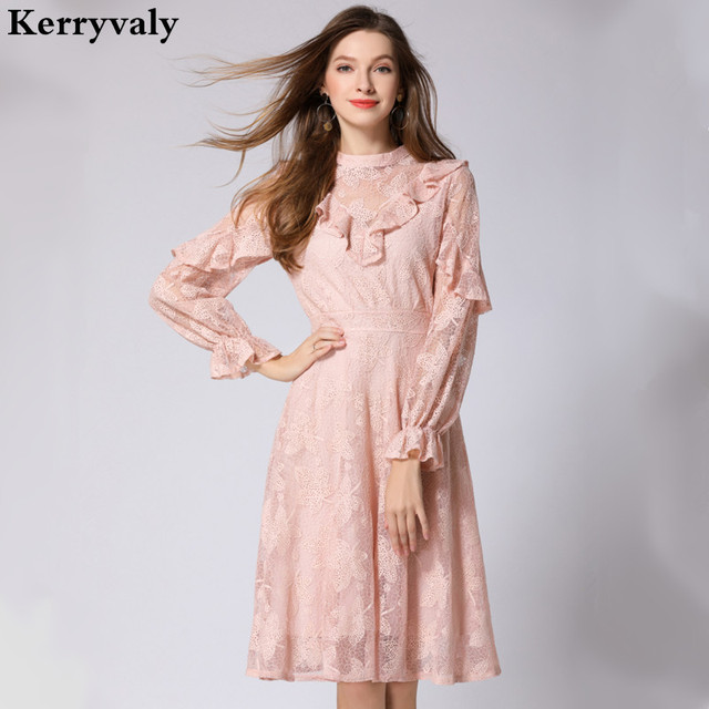 Ladies Long Sleeve Embroidery Pink Lace Dress Robe Femme Ete 2018 ...
