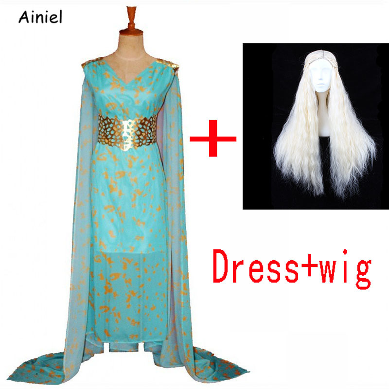 A Song of Ice and Fire Cosplay Game of Thrones Costume Daenerys Targaryen Dress Cosplay Costume Wig Halloween Costumes for Women image