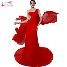 One Shoulder Long Formal Evening Dresses Real Image Beadings A Line  Sleeveless Chiffon Red Backless Evening be88a17749ce
