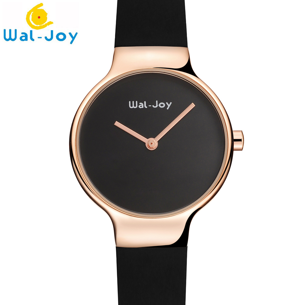 Wal-Joy Brand Small Ultra Thin Dial Lady Watch Removable Silicone Strap Women Waterproof Watch in Quartz Gift For Women (WJ9009) weiqin w3224 shell dial ultra thin ceramic women quartz watch