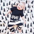 Infant Baby Clothing Sets boy clothes set kids  bebes Spring Autumn Outfits Set black love shirt +Black and white striped pants