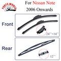 Combo da Borracha de Silicone Frente E Lâminas Do Limpador Traseiro Para Nissan Note 2006 Em Diante. Brisas Acessórios Do Carro 24 ''+ 14''