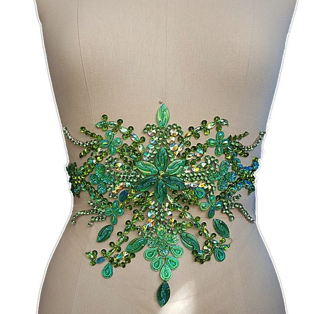 Dw.M Green Embroidery Beaded Crystal Rhinestone Applique Patch 22x35cm  Sewing For Wedding Dress Trims Waist Belly Decoration 1fbf9b72ddc1