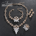 Amader Hot sale African wedding jewelry sets gold plated red crystal flower shape bridal jewelry sets