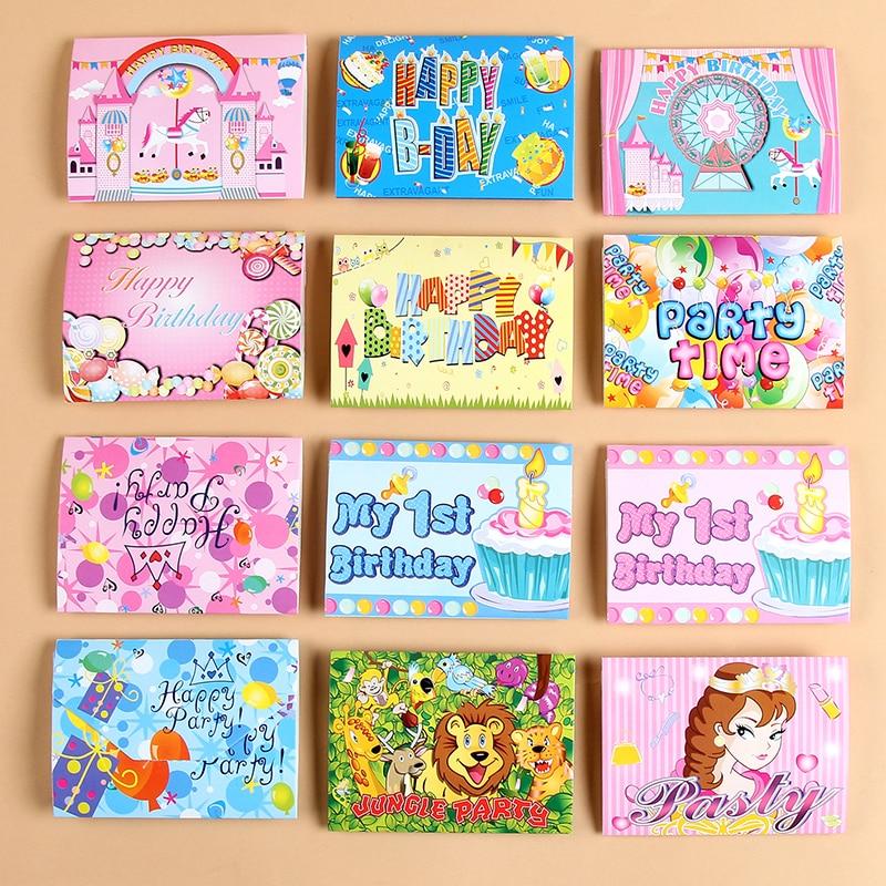 6pcs paper birthday invitation card children cartoon crown