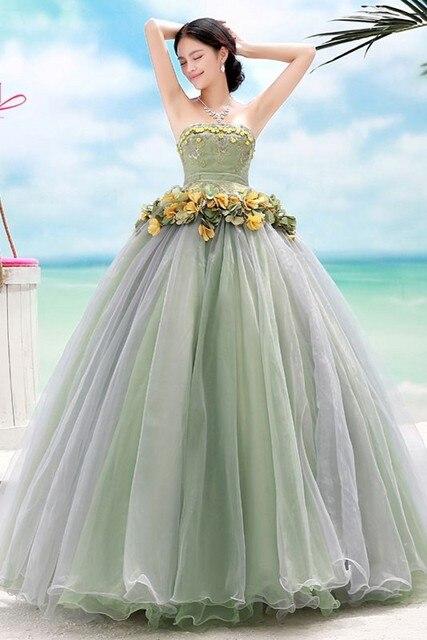 ad885ee5a Nueva moda de playa Vestido de Quinceanera vestidos sin mangas Niña  apliques y flores vestidos de