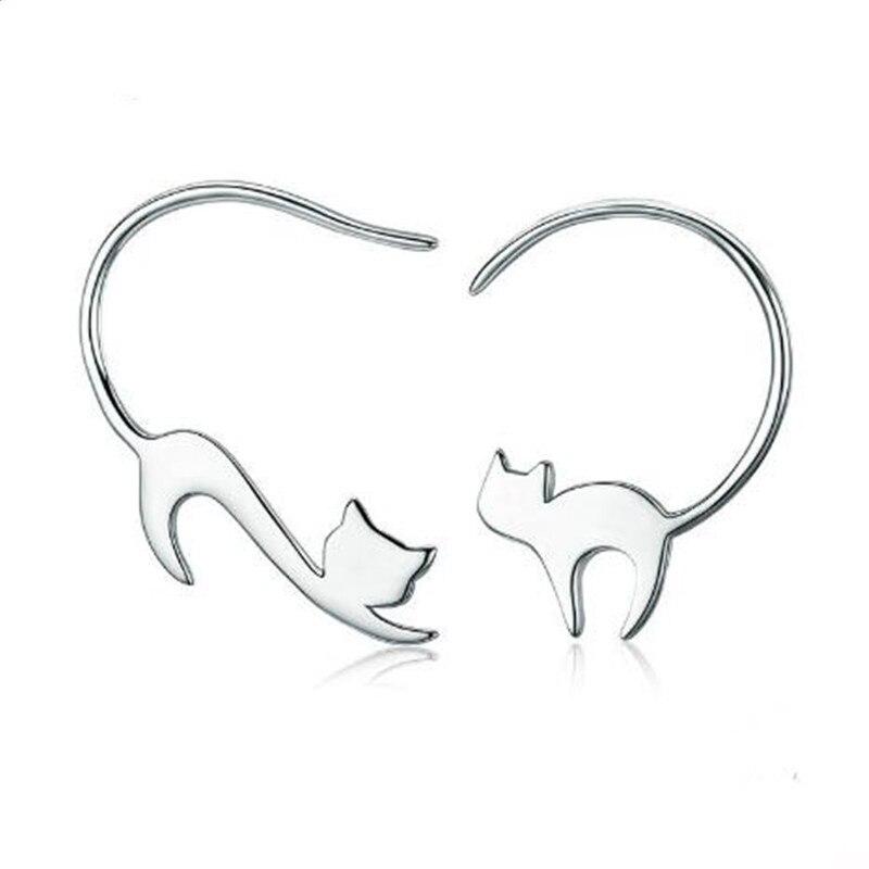 Pure 925 Sterling Silver Long Tail Cute Cat Hook Earrings Women Unique S925 Jewelry Girl Gift