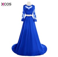Robe de Soiree Lace Royal Blue Two Piece Prom Dresses Long Sleeve Satin Applique Illusion Formal Party Gown Evening Dress 2018