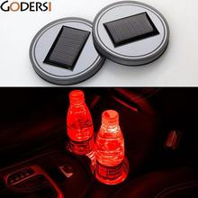 Godersi Light Non-slip Mat Car Truck Solar Power Energy Cup Holder Bottom Pad LED Light Built-in Battery Cover Mouldings Trim