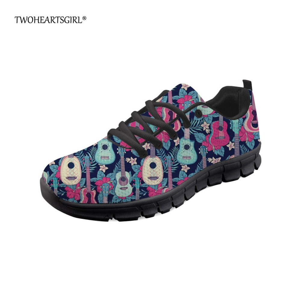 Twoheartsgirl Colorful Guitar Pattern Flats Leisure Soft Ladies Breathable Mesh Walking Shoes Comfortable Women Fashion Sneakers