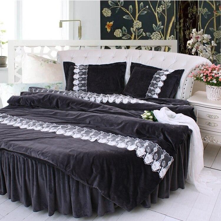 Round Bed Black Color Lace Velvet Bedding 4pcs Sets Luxury