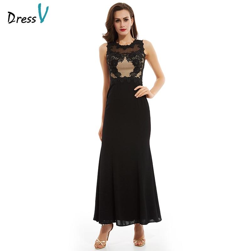 Discount Designer Evening Dresses: Dressv Black Tulle Long Evening Dress Elegant Simple Cheap