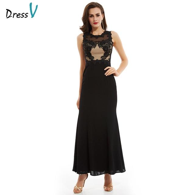 978a8fb82 Dressv negro tul vestido de noche largo elegante simple barato boda vestido  de fiesta Appliques mujeres