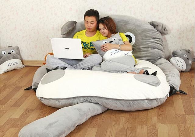 200cm X 170cm/6.5ft X 5.5ft Giant Totoro Bed Mat Lovely Mattress Big Soft Beanbag Mattresses Double Sleeping Fillings Bed Set