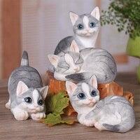 Mini Cat Pet Statue Garden Ornament Miniature Figurine Resin Decoration Artifical Resin Cat Animal Home Decoration