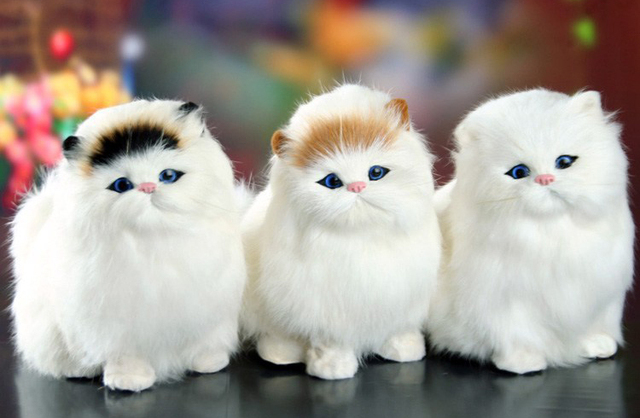 Real Hair Cat Dolls Simulation animal toy cats will meowth children's pet cat plush toys ornaments birthday gift Electronic Pet 1