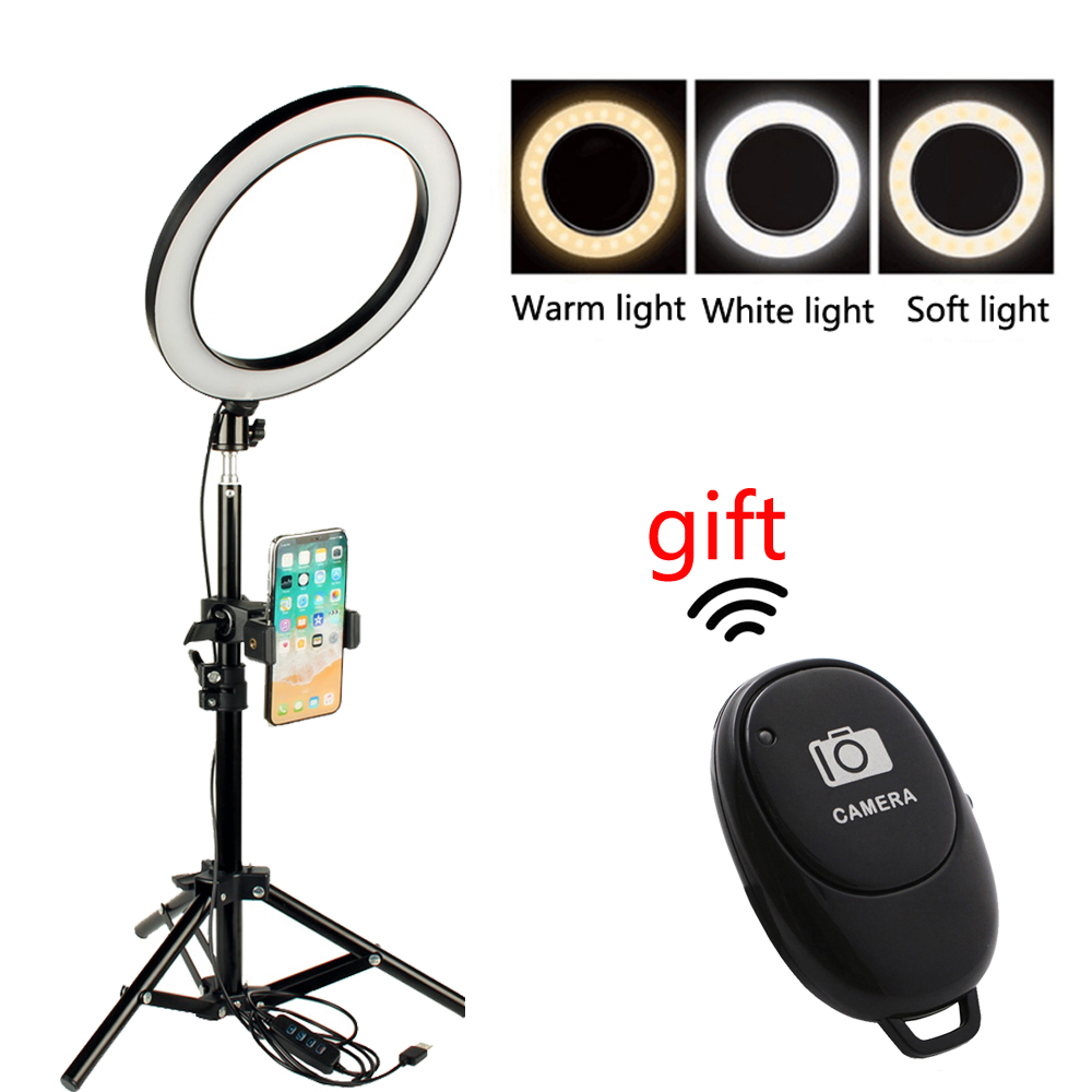 LED Selfie Ring Light Video Live Dimmable Lamp Photo Makeup Portrait Lighting with Selfie Stick Tripod Phone Holder for Gift