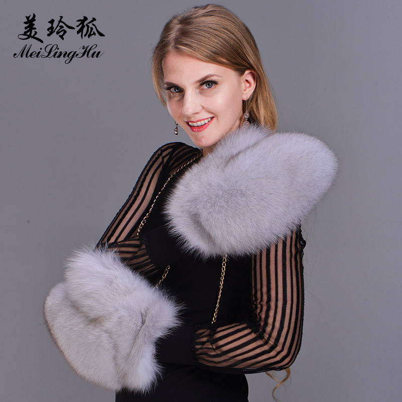 2017 Brand Fashion Winter Women Gloves Real Fox Fur Glove Knitted Ladies Mittens Thick Colorful Warm Fur Female Gloves & Mittens