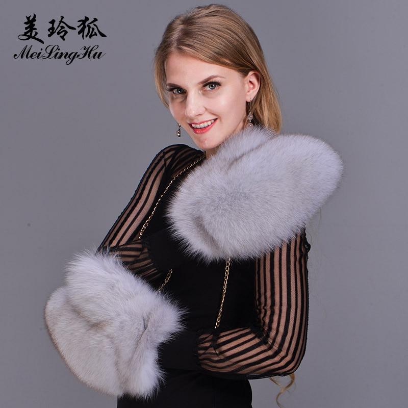 2017 Marque Mode Hiver Femmes Gants En Fourrure De Renard Véritable Gant Tricoté Dames Mitaines Épais Coloré Fourrure Chaude Gants Femme & mitaines