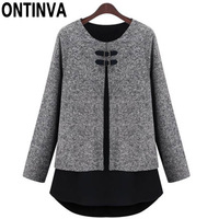 6XL 5XL Plus Size Patchwork Sweaters Girls Casual Autumn Oversize Gray Pullovers Woman O Neck Long