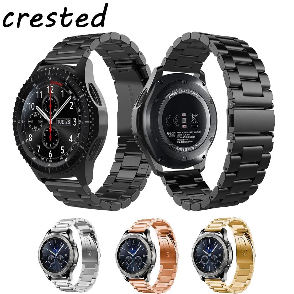 CRESTED 22mm watchband bracelet for samsung gear s3 frontier/Classic strap link bracelet stainless steel watch strap for samsung crested silicone strap for samsung gear s3 frontier rubber smart watch wristband