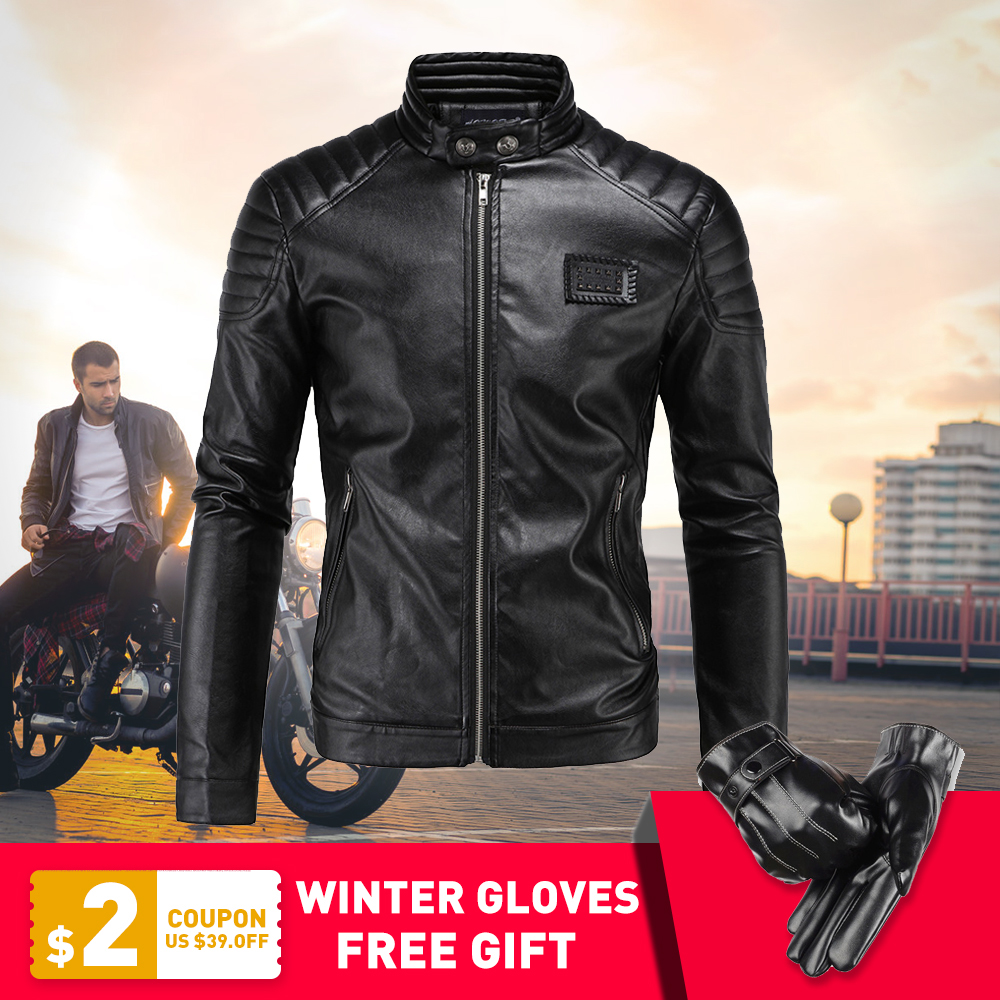 New Motorcycle Jacket PU Leather Men Vintage Retro Moto Faux Punk Leather Jackets Motorcycle Clothing Coats Slim Fit Size M 5XL