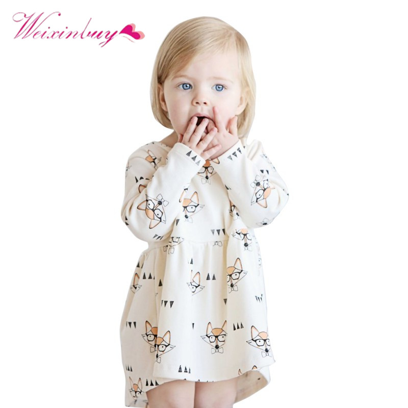 Childrens Party Dresses Casual Baby Girls Outfits Clothing Fashion Girls Dress Fox Printed Long Sleeve A Line