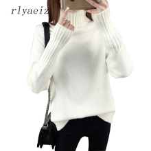 RLYAEIZ 11 Colors 2017 Autumn Winter Sweater Women Casual Turtleneck Pure Color Long Sleeve Warm Pullover Lady Knitted Sweaters