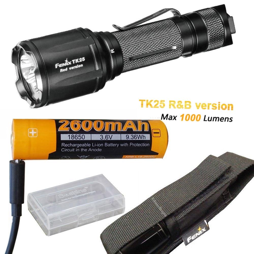 Fenix TK25 R&B (Red & Blue) White 1000 Lumen Multi-Color LED tactical hunting Flashlight + with ARB-L18-2600U Battery,USB Cable fenix hp25r 1000 lumen headlamp rechargeable led flashlight