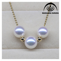 MADALENA SARARA AAA Akoya Saltwater Pearl Necklace Simple Beauty Pearl Necklace 8 9mm Sea water pearl Chain Necklace