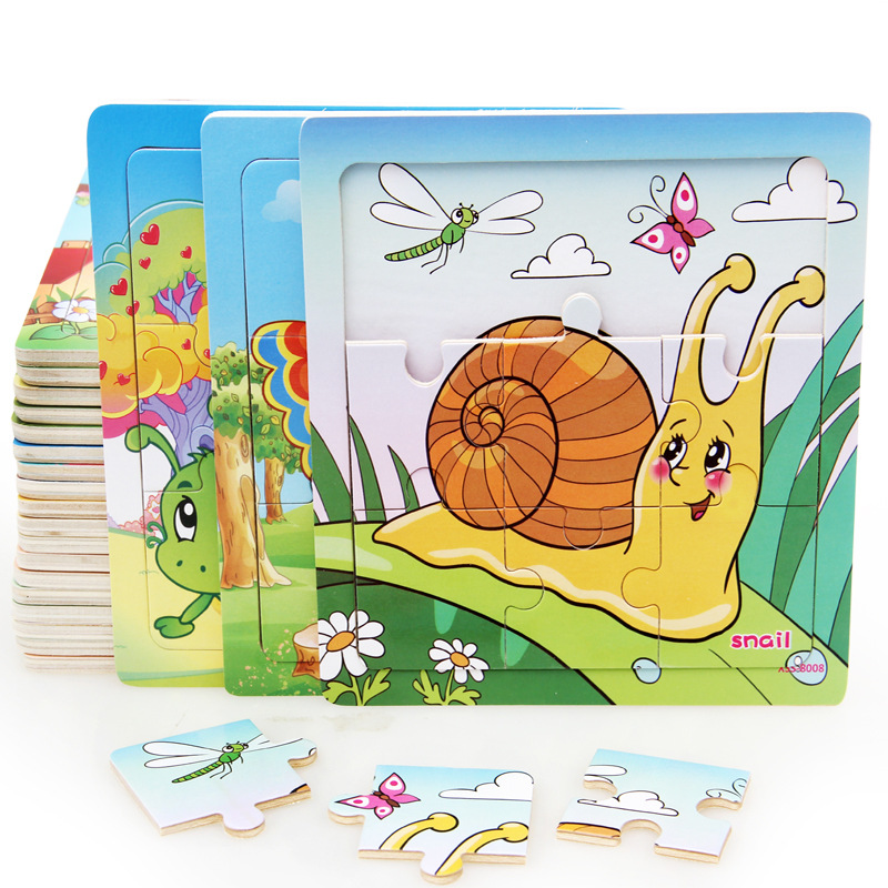 Baby Cognition Puzzle Wooden Toys For Kids Insect Small Piece Jigsaw Educational Learning Toys For Children Gift