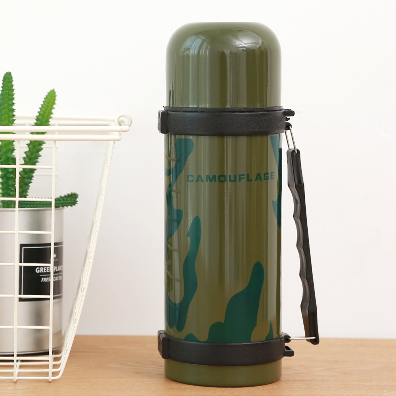 Stainless Steel insulated Thermos Bottle 1200ml Army Green Thermo cup Travel Coffee Mugs Thermal vaccum water bottle Thermal cup