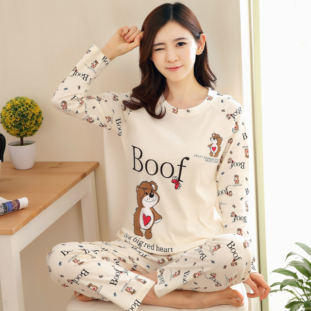 a339d5abdeebe Fashion Woman Lovely Wear Leisure Clothes Personality 2018 Autumn Long  Sleeved Women Pajamas for Women Pyjamas Sets Nightwear