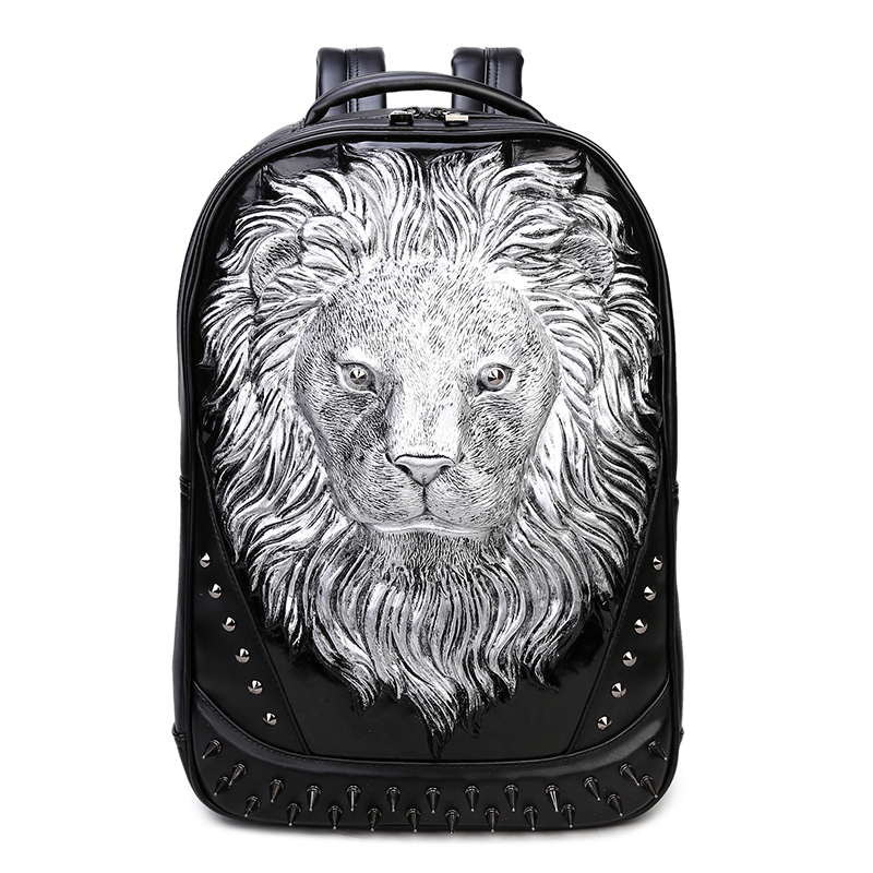 3D Lion Leather Backpacks Fashion Men School Travel Computer Backpack Bags Personality Silver Gold Rivet Animal Bags Halloween cool men travel backpack men elephant animal bags 15 6 inch laptop computer bag fashion black gold silver rivet leather bags