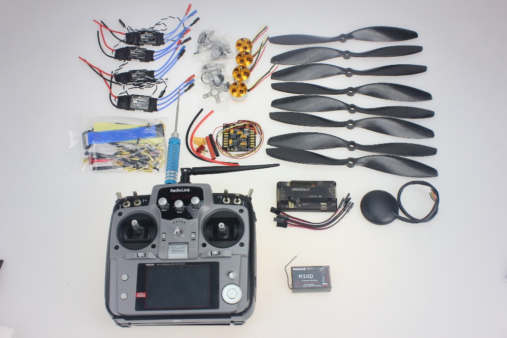 4axle  Foldable Rack RC Helicopter Kit APM2.8 Flight Control Board+GPS+1000KV Motor+10x4.7 Propeller+30A ESC+AT10 TX F02015-I f02015 f 6 axis foldable rack rc quadcopter kit with kk v2 3 circuit board 1000kv brushless motor 10x4 7 propeller 30a esc