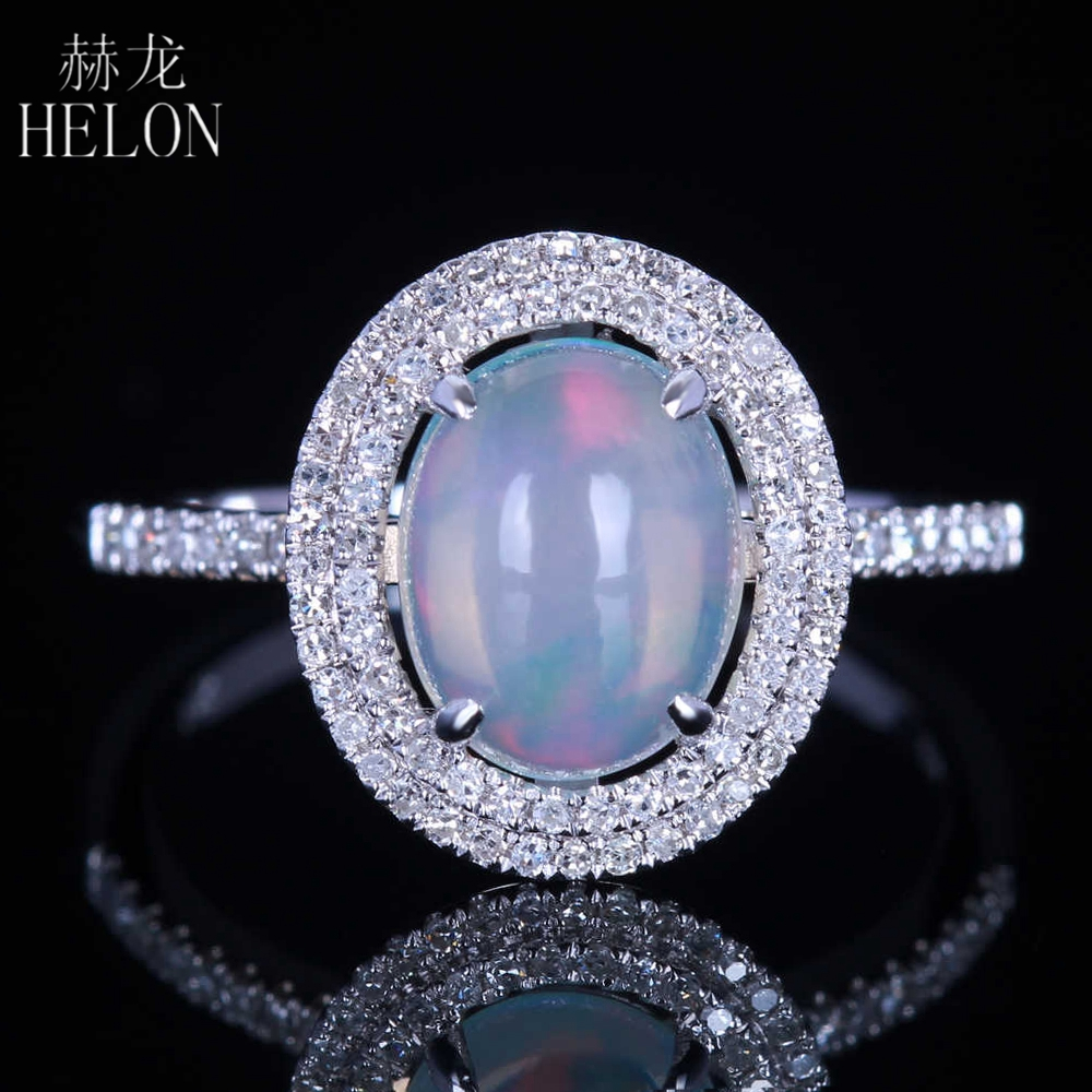 Helon Solid 10k White Gold Milk White Opal Oval Cut 9x7mm Pave Natural Diamonds  Engagement Wedding Fine Ring Women's Jewelry